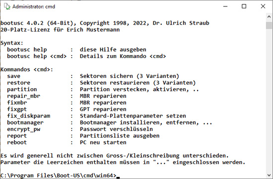 Kommandozeilen-Version Boot-US